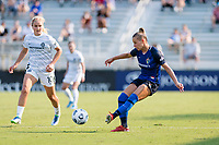 CARY, NC - SEPTEMBER 12: Merritt Mathias #11 of the NC Courage passes the ball during a game between Portland Thorns FC and North Carolina Courage at Sahlen's Stadium at WakeMed Soccer Park on September 12, 2021 in Cary, North Carolina.