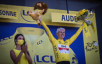 yellow jersey / GC leader Tadej Pogacar (SVN/UAE-Emirates)<br /> <br />   Stage 13 from Nîmes to Carcassonne (219.9km)<br /> 108th Tour de France 2021 (2.UWT)<br /> <br /> ©kramon