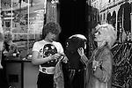 Vivienne Westwood in her shop Seditionaries 430 Kings Road Chelsea London 1977. Shop assistant Michael Collins.
