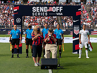 EAST HARTFORD, CT - JULY 5: Pete DuPre plays the national anthem on his harmonica during a game between Mexico and USWNT at Rentschler Field on July 5, 2021 in East Hartford, Connecticut.