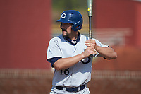 Hunter Shepherd (18) of the Catawba Indians at bat during game two of a double-header against the Queens Royals at Tuckaseegee Dream Fields on March 26, 2021 in Kannapolis, North Carolina. (Brian Westerholt/Four Seam Images)