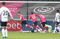 1st May 2021; Liberty Stadium, Swansea, Glamorgan, Wales; English Football League Championship Football, Swansea City versus Derby County; Tom Lawrence of Derby County celebrates after scoring his sides first goal for 0-1 in the 48th minute