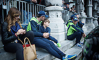 Alejandro Valverde (ESP/Movistar) & son waiting for the team presentation<br /> <br /> Team Presentation; 1 day ahead of the 101th Liège-Bastogne-Liège 2015