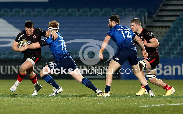 8th January 2021 | Leinster vs Ulster <br /> <br /> James Hume is tackled by James Tracy during the PRO14 Round 11 clash between Leinster Rugby and Ulster Rugby at the RDS Arena, Ballsbridge, Dublin, Ireland. Photo by John Dickson/Dicksondigital