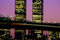 Skyline and World Trade Center at twilight in New York City, USA