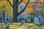 Autumn color at the Central Burying Ground in Boston Common, Boston, Massachusetts, USA