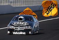 Feb. 16, 2013; Pomona, CA, USA; NHRA pro stock driver Vincent Nobile during qualifying for the Winternationals at Auto Club Raceway at Pomona.. Mandatory Credit: Mark J. Rebilas-