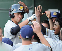 Designated hitter Kyle Higashioka (9) of the Charleston RiverDogs is congratulated in the dugout after hitting a home run in a game against the Greenville Drive on May 27, 2010, at Fluor Field at the West End in Greenville, S.C. Photo by: Tom Priddy/Four Seam Images