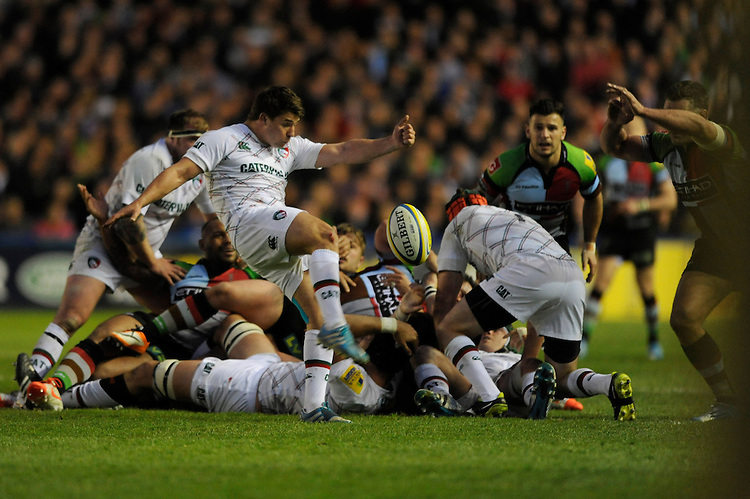 Ben Youngs of Leicester Tigers sends up a box kick during the Aviva Premiership match between Harlequins and Leicester Tigers at the Twickenham Stoop on Friday 18th April 2014 (Photo by Rob Munro)