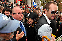 Montreal  (QC) CANADA - Oct 3 2009 - Family and PQ members gather to pay tribute filmmaker and separatist figure Pierre Falardeau, Oct 3rd 2009 at Saint-Jean-Baptiste church in Montreal. Bernard Landry , his  wife and Falardeau son (with glasses)