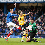 Dean Shiels foiled by defender John Crawford and keeper John Gibson