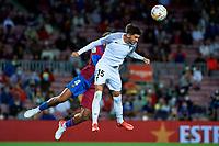 20th September 2021; Nou Camp, Barcelona, Spain; La Liga football league, FC Barcelona versus Granada CF;  Carlos Neva of Granada CF with a clearing header during the Liga match between FC Barcelona and Granada CF .