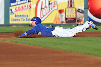 Kris Bryant #19 of the Iowa Cubs slides into second base against the Omaha Storm Chasers at Principal Park on July 2, 2014 in Des Moines, Iowa. The Cubs  beat Storm Chasers 4-3.   (Dennis Hubbard/Four Seam Images)