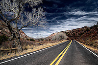 New Mexico state road 4 as it winds through San Antonio Canyon in the Jemez Mountains south of Jemez Springs.