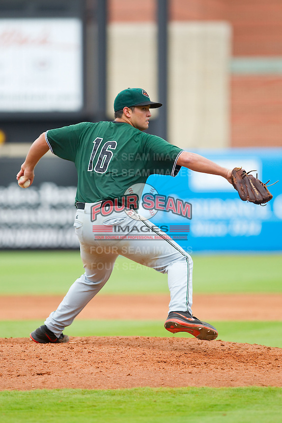 Augusta GreenJackets starting pitcher Matt Lujan (16) in action against the Greensboro Grasshoppers at NewBridge Bank Park on August 11, 2013 in Greensboro, North Carolina.  The GreenJackets defeated the Grasshoppers 6-5 in game one of a double-header.  (Brian Westerholt/Four Seam Images)