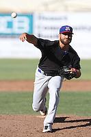 Josh Bowman #11 of the Stockton Ports pitches against the High Desert Mavericks at Stater Bros. Stadium on May 27, 2012 in Adelanto,California. High Desert defeated Stockton 6-5.(Larry Goren/Four Seam Images)