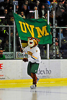 3 January 2009: University of Vermont Catamount mascot Rally Cat waves the UVM flag prior to the championship game of the Catamount Cup Ice Hockey Tournament against the St. Lawrence Saints hosted by the University of Vermont at Gutterson Fieldhouse in Burlington, Vermont. The Catamounts shut out the Saints 4-0 to win the tournament for the second time since its inception in 2005...Mandatory Photo Credit: Ed Wolfstein Photo