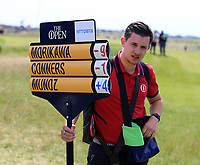 16th July 2021; Royal St Georges Golf Club, Sandwich, Kent, England; The Open Championship Tour Golf, Day Two; the scoreboard showing Collin Morikawa (USA) leading the tournament after 12 hole
