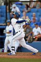 Dunedin Blue Jays shortstop Dawel Lugo (31) at bat during a game against the Clearwater Threshers on April 10, 2015 at Florida Auto Exchange Stadium in Dunedin, Florida.  Clearwater defeated Dunedin 2-0.  (Mike Janes/Four Seam Images)