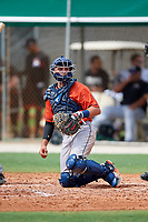 GCL Astros catcher Nate Perry (48) during a game against the GCL Marlins on July 22, 2017 at Roger Dean Stadium Complex in Jupiter, Florida.  GCL Astros defeated the GCL Marlins 5-1, the game was called in the seventh inning due to rain.  (Mike Janes/Four Seam Images)