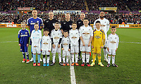 Swansea, UK Saturday 17 January 2015<br /> Children mascots with team captains John Terry of Chelsea and Ashley Williams of Swansea<br /> Barclays Premier League, Swansea City FC v Chelsea at the Liberty Stadium, south Wales, UK