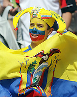 Ecuador fan celebrates prior to the game. Germany defeated Ecuador 3-0 in their FIFA World Cup Group A match at Olympiastadion, Berlin, Germany, June 20, 2006.