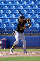 Pittsburgh Pirates Michael Perez (5) bats during a Major League Spring Training game against the Toronto Blue Jays on March 1, 2021 at TD Ballpark in Dunedin, Florida.  (Mike Janes/Four Seam Images)