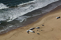 aerial photograph of rv camping Pacific Ocean beach, California