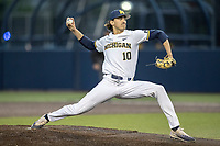 Michigan Wolverines pitcher Jackson Lamb (10) delivers a pitch to the plate against the Central Michigan Chippewas on May 9, 2017 at Ray Fisher Stadium in Ann Arbor, Michigan. Michigan defeated Central Michigan 4-2. (Andrew Woolley/Four Seam Images)