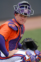 Clemson catcher Phil Pohl prior to a game versus the Boston College Eagles at Shea Field in Boston, Massachusetts on April 16, 2011.  Photo by Ken Babbitt /Four Seam Images