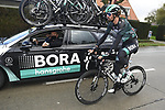 Daniel Oss (ITA) Bora-Hansgrohe back at the team car during the 82nd edition of Gent-Wevelgem 2020 running 232km from Ypres to Wevelgem, Belgium. 11th October 2020.  <br /> Picture: Bora-Hansgrohe/Dion Kerckhoffs/CV/BettiniPhoto   Cyclefile<br /> <br /> All photos usage must carry mandatory copyright credit (© Cyclefile   Bora-Hansgrohe/Dion Kerckhoffs/CV/BettiniPhoto)