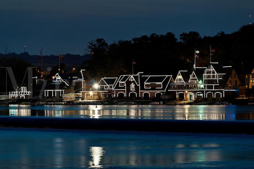 Boat House Row at night, Philadelphia, Pennsylvania, USA