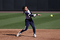 DURHAM, NC - FEBRUARY 29: Katie Marino #27 of the University of Notre Dame throws to first base for an out during a game between Notre Dame and Duke at Duke Softball Stadium on February 29, 2020 in Durham, North Carolina.