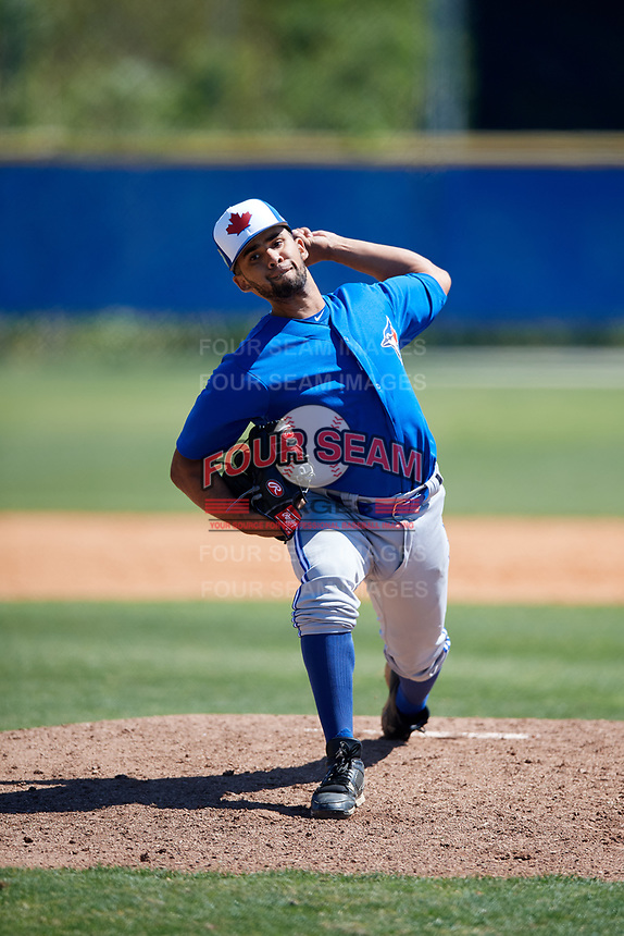 Toronto Blue Jays pitcher Elio Silva (53) during a Minor League Spring Training Intrasquad game on March 14, 2018 at Englebert Complex in Dunedin, Florida.  (Mike Janes/Four Seam Images)