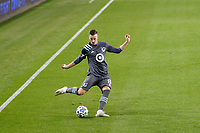 ST PAUL, MN - OCTOBER 28: Jan Gregus #8 of Minnesota United FC kicks the ball during a game between Colorado Rapids and Minnesota United FC at Allianz Field on October 28, 2020 in St Paul, Minnesota.