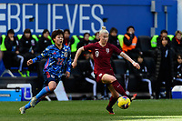 HARRISON, NJ - MARCH 08: Bethany England #9 of England is marked by Mayo Doko #22 of Japan during a game between England and Japan at Red Bull Arena on March 08, 2020 in Harrison, New Jersey.