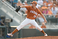 Texas Longhorns pitcher Sam Stafford #19 delivers against the Texas A&M Aggies in NCAA Big XII Conference baseball on May 21, 2011 at Disch Falk Field in Austin, Texas. (Photo by Andrew Woolley / Four Seam Images)