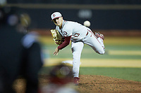 Florida State Seminoles relief pitcher Jonah Scolaro (13) delivers a pitch to the plate against the Wake Forest Demon Deacons at David F. Couch Ballpark on March 9, 2018 in  Winston-Salem, North Carolina.  The Seminoles defeated the Demon Deacons 7-3.  (Brian Westerholt/Four Seam Images)