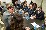 President of Ciudadanos, Albert Rivera talking with the president of FIAB, Mane Calvo during the meeting with board of the Spanish Federation of Food and Beverage (FIAB) in Madrid. May 19, 2016. (ALTERPHOTOS/Borja B.Hojas)
