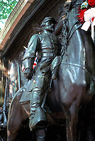 Boston:  Massachusetts 54th Memorial--detail of Col. Shaw.  Sculpture by Augustus Saint-Gaudens, 1894-1898.   Boston Commons.  Photo '88.