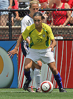 Marta v Kristine Lilly.US Women's National Team vs Brazil at Legion Field in Birmingham, Alabama.