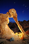 The Elephant Rock formation at night in the Valley of Fire State Park, near Overton, Nevada