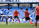 21.02.2021 Rangers v Dundee Utd: Joe Aribo shoots but Ianis Hagi gets the final touch on the way into the net