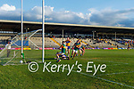 Micheál Burns, scores Kerry's third goal during the Munster Football Championship game between Kerry and Clare at Fitzgerald Stadium, Killarney on Saturday.