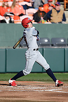 Shortstop Stanton Leuthner (13) of the Stony Brook Seawolves bats in a game against the Clemson Tigers on Friday, February 21, 2020, at Doug Kingsmore Stadium in Clemson, South Carolina. Clemson won, 2-0. (Tom Priddy/Four Seam Images)