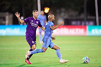LAKE BUENA VISTA, FL - JULY 14: Heber #9 of NYCFC dribbles the ball during a game between Orlando City SC and New York City FC at Wide World of Sports on July 14, 2020 in Lake Buena Vista, Florida.