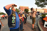 Le Osterfeld (cq) with the USS Snook Base submarine veterans group based in Rogers salutes on Saturday Sept. 11 2021 during the Pledge of Allegiance at the 9-11 remembrance ceremony in Bentonville. Go to nwaonline.com/210912Daily/ to see more photos.<br />(NWA Democrat-Gazette/Flip Putthoff)