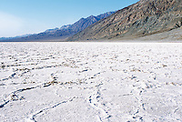 Death Valley National Park, California, CA, USA - Salt Flats at Badwater Basin and the Black Mountains - Lowest Elevation in North America (282 ft / 86m below sea level)