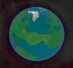 Illustrative representation of handshake on the globe