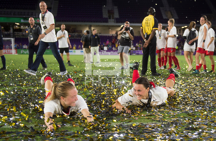 Orlando, FL - Saturday October 14, 2017: Hayley Raso and Emily Sonnett during the NWSL Championship match between the North Carolina Courage and the Portland Thorns FC at Orlando City Stadium.   The Portland Thorns won the championship, 1-0.